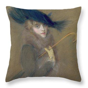 Elegant Lady Throw Pillow by Paul Cesar Helleu