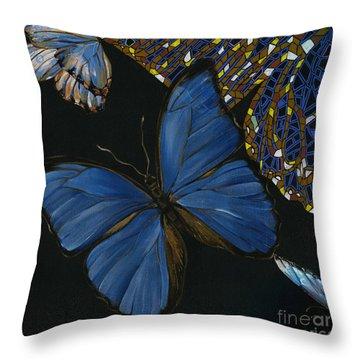 Throw Pillow featuring the painting Elena Yakubovich - Butterfly 2x2 Lower Left Corner by Elena Yakubovich