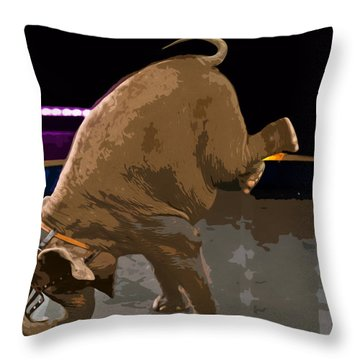Throw Pillow featuring the photograph Elephant Perfomance At Circus by Susan Leggett