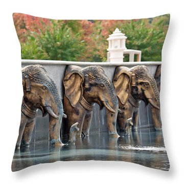 Elephants Of The Mandir Throw Pillow