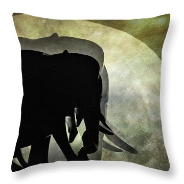Elephants On Moonlight Walk 2 Throw Pillow by Kaye Menner