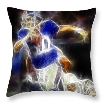 Eli Manning Quarterback Throw Pillow by Paul Ward