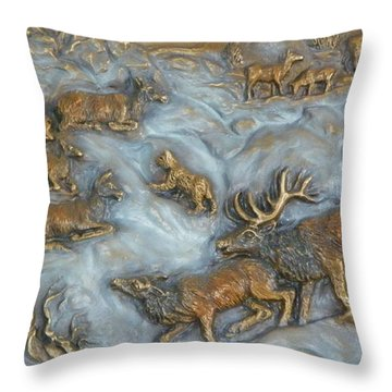 Elk And Bobcat In Winter Throw Pillow by Dawn Senior-Trask