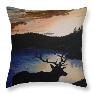 Throw Pillow featuring the painting Elk At Sunset by Norm Starks