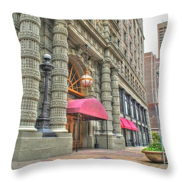 Throw Pillow featuring the photograph Ellicott Square Building And Hsbc by Michael Frank Jr