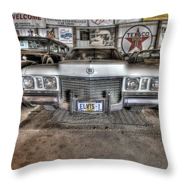 Elvis' Cadillac Throw Pillow