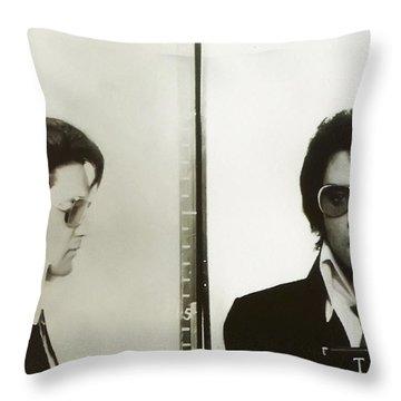 Elvis Mugshot 1970 Throw Pillow