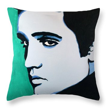 Elvis Presley - Blue Green Throw Pillow