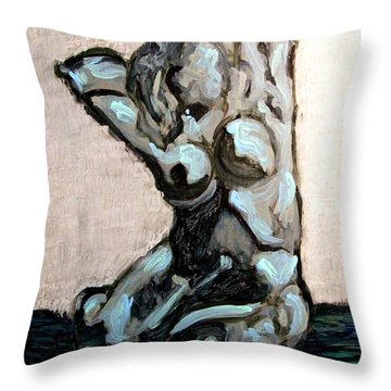 Emerald Green And Blue Expressionist Nude Female Figure Painting Filled With Emotion And Movement Throw Pillow