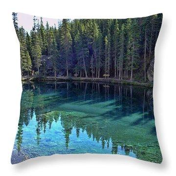 Emerald Mountain Pond Throw Pillow by Jo-Anne Gazo-McKim