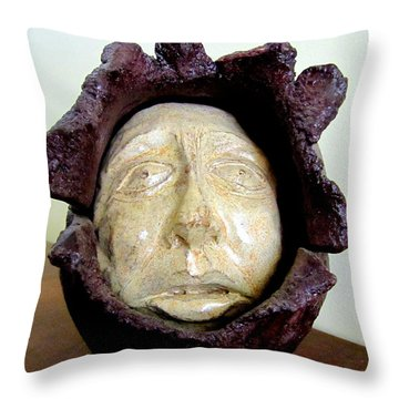 Emerging White Pale Face Born Out Of A Brown Purple Thing Eyes Nose Mouth Throw Pillow by Rachel Hershkovitz