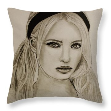 Throw Pillow featuring the drawing Emily by Michael Cross