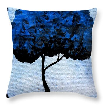 Throw Pillow featuring the painting Emily's Trees Blue by Oddball Art Co by Lizzy Love