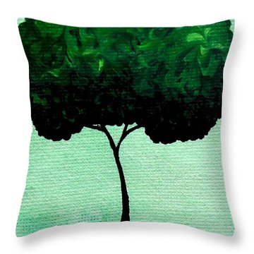 Throw Pillow featuring the painting Emily's Trees Green by Oddball Art Co by Lizzy Love