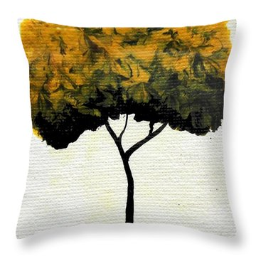 Throw Pillow featuring the painting Emily's Trees Yellow by Oddball Art Co by Lizzy Love