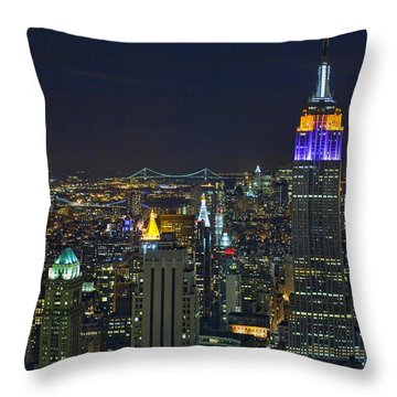 Empire State At Night Throw Pillow