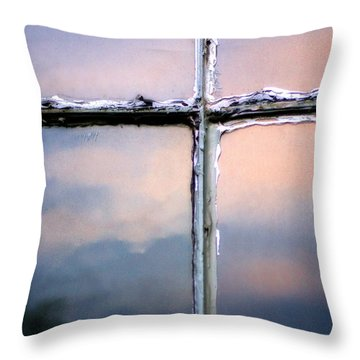 Empty Cross On The Window Of An Old Church Throw Pillow