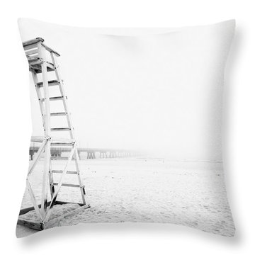 Empty Life Guard Tower 2 Throw Pillow by Skip Nall