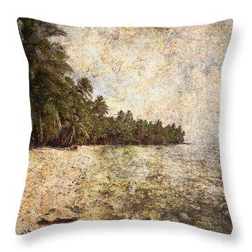 Empty Tropical Beach 2 Throw Pillow by Skip Nall