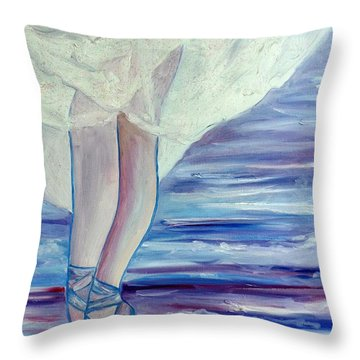 Throw Pillow featuring the painting En Pointe by Julie Brugh Riffey
