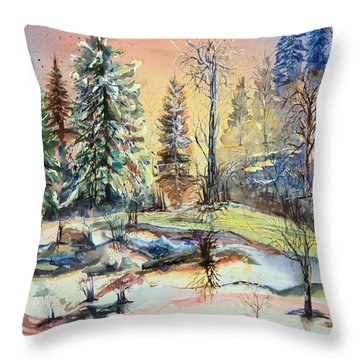 Enchanted Forest At Sunset Throw Pillow