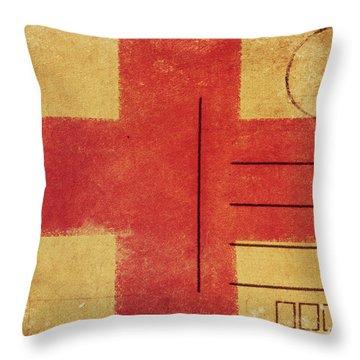 England Flag Postcard Throw Pillow by Setsiri Silapasuwanchai
