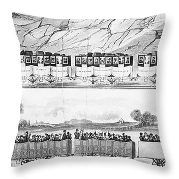 England: Railroad Travel Throw Pillow by Granger