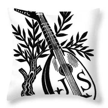 English Bookplate Throw Pillow by Granger