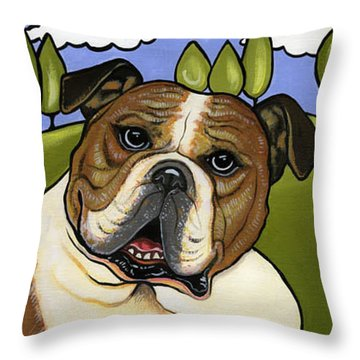 English Bull Dog Throw Pillow by Leanne Wilkes