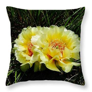 Plains Prickly Pear Cactus Throw Pillow