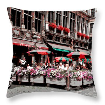 Enjoying The Grand Place Throw Pillow by Carol Groenen
