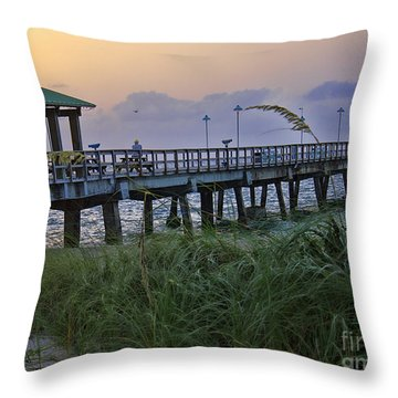 Throw Pillow featuring the photograph Enjoying The Sunrise by Anne Rodkin
