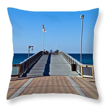 Throw Pillow featuring the photograph Entrance To A Fishing Pier by Susan Leggett