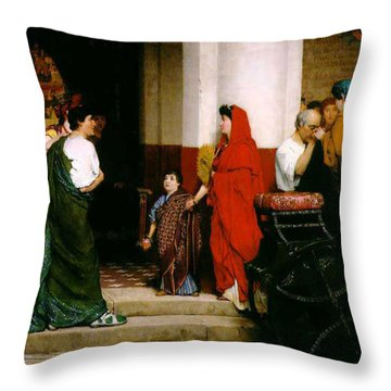Entrance To A Roman Theatre Throw Pillow by Sir Lawrence Alma-Tadema