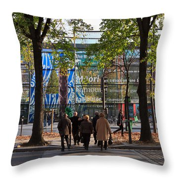 Entrance To Musee Branly In Paris In Autumn Throw Pillow by Louise Heusinkveld