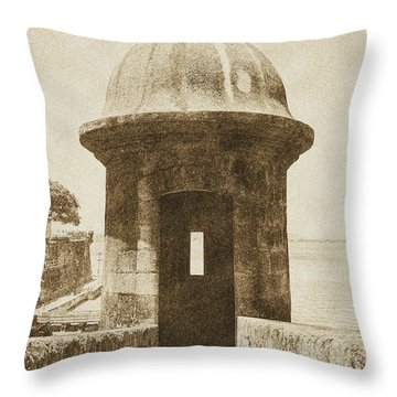 Entrance To Sentry Tower Castillo San Felipe Del Morro Fortress San Juan Puerto Rico Vintage Throw Pillow by Shawn O'Brien
