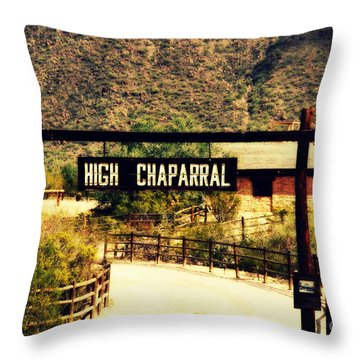 Entrance To The High Chaparral Ranch Throw Pillow by Susanne Van Hulst