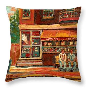 Epicerie Latina Montreal Throw Pillow by Carole Spandau