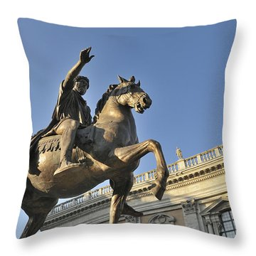 Equestrain Statue Of Emperor Marcus Aurelius In Piazza Del Campidoglio.capitoline Hill. Rome. Italy. Throw Pillow by Bernard Jaubert