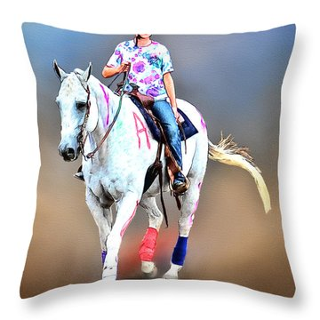Equestrian Competition II Throw Pillow by Tom Schmidt