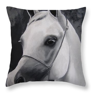 Equestrian Silver Throw Pillow by Kayleigh Semeniuk