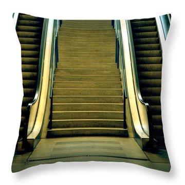 Escalators And Stairs Throw Pillow by Joana Kruse
