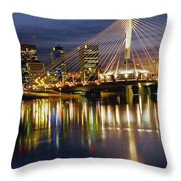 Esplanade Riel Footbridge On Red River Throw Pillow by Mike Grandmailson