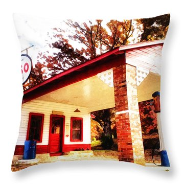 Esso Filling Station Throw Pillow by Lynne Jenkins