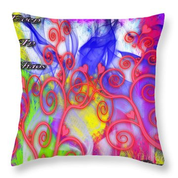 Throw Pillow featuring the digital art Even In Chaos Find Love by Clayton Bruster