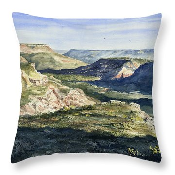Evening Flight Over Palo Duro Canyon Throw Pillow