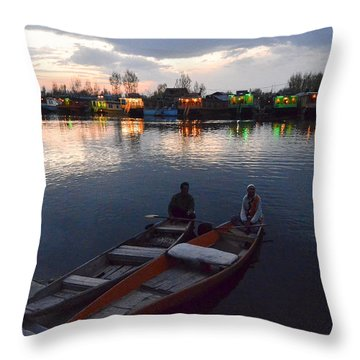 Evening On Dal Lake Throw Pillow by Fotosas Photography