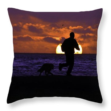 Throw Pillow featuring the photograph Evening Run On The Beach by Clayton Bruster