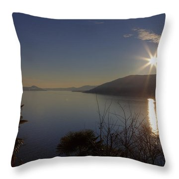 evening sun over the Lake Maggiore Throw Pillow by Joana Kruse