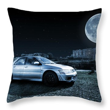 Throw Pillow featuring the photograph Evo 7 At Night by Steve Purnell